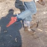 """Der Stiefel ist wieder frei, aber die Socke ist """"etwas Grundstück"""""""