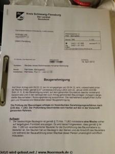 2012-04-19 Baugenehmigung liegt endlich vor, nachdem der Antrag einen Montat bei ECO rumgelegen hat!