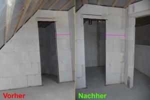 2012-08-23 Fertige korrigierte Wand im OG im Vergleich bei der Ankleidezimmer-Tuer