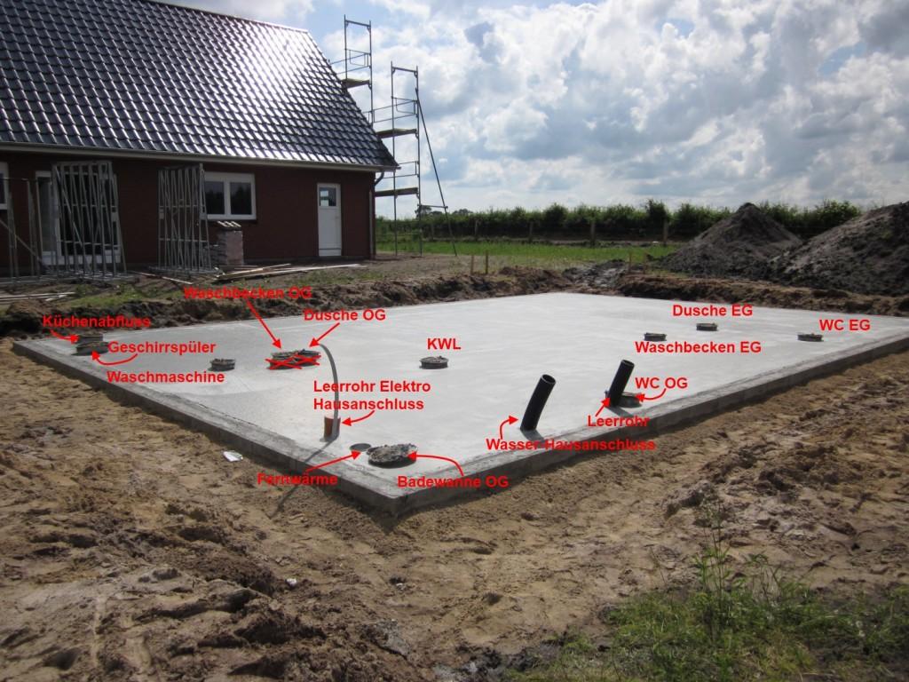 Bodenplatte mit Markierungen