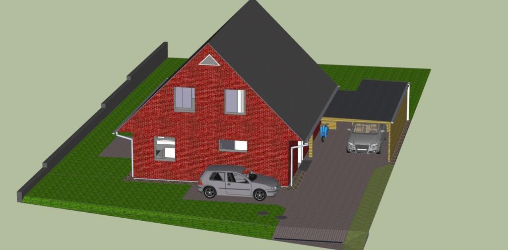 Haus Luftblick Auffahrt (Google Sketchup Rendering)
