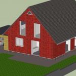 Haus Rückseite mit Terrassenplanung (Google Sketchup Rendering)