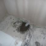 Auch im Gäste-WC ist das Abflussrohr geschlossen worden