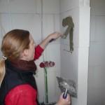 Duschfach Gästedusche: Spachteln und einkleben