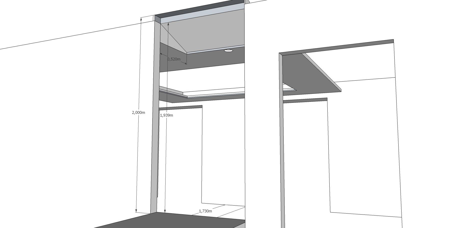 Konzept abgehängte Decke v0.4 - Nun mit Schräge zum Treppenaufgang
