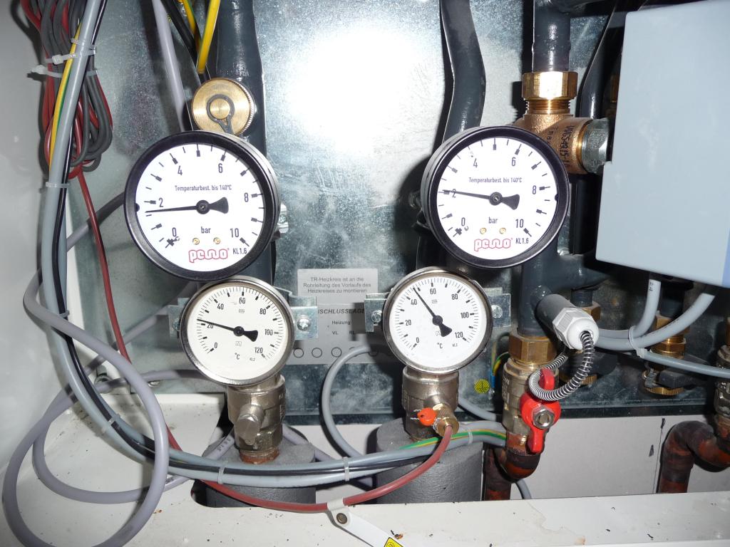 Gemessene Temperaturen an den Rohren am Tag 3 (24.10.2012)