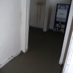 Blick durch die Eingangs(bau)tür ins Gäste-WC