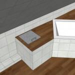 Geplante Abmauerung mit eingefliestem Wäscheschacht und möglichem Deckel
